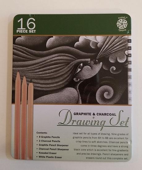 Pentalic Graphite & Charcoal Drawing Set