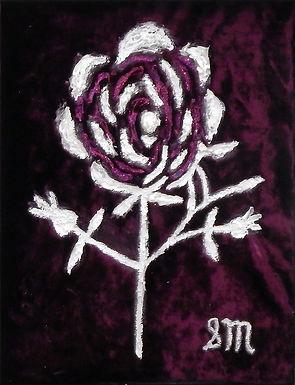 White Redoute Rose on Purple Velvet by Sandra Merlini