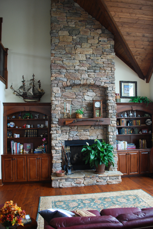 Hand laid rock fireplace