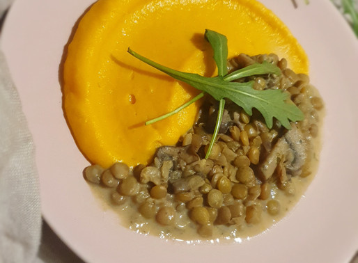 Lentil stew with mashed sweet potatoes