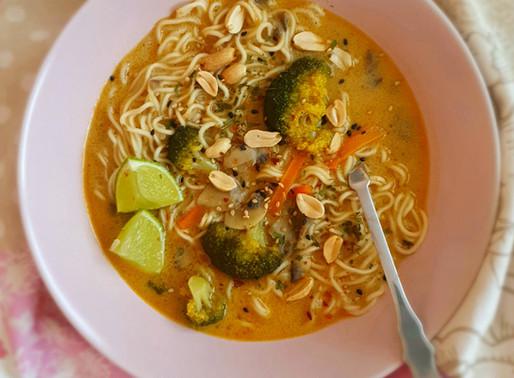 Vegan red curry peanut ramen
