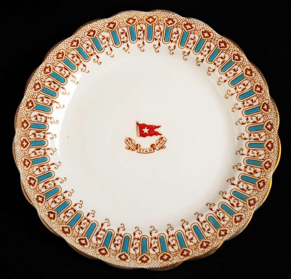 First class turquoise pattern plate from Tit anic dated March 1912
