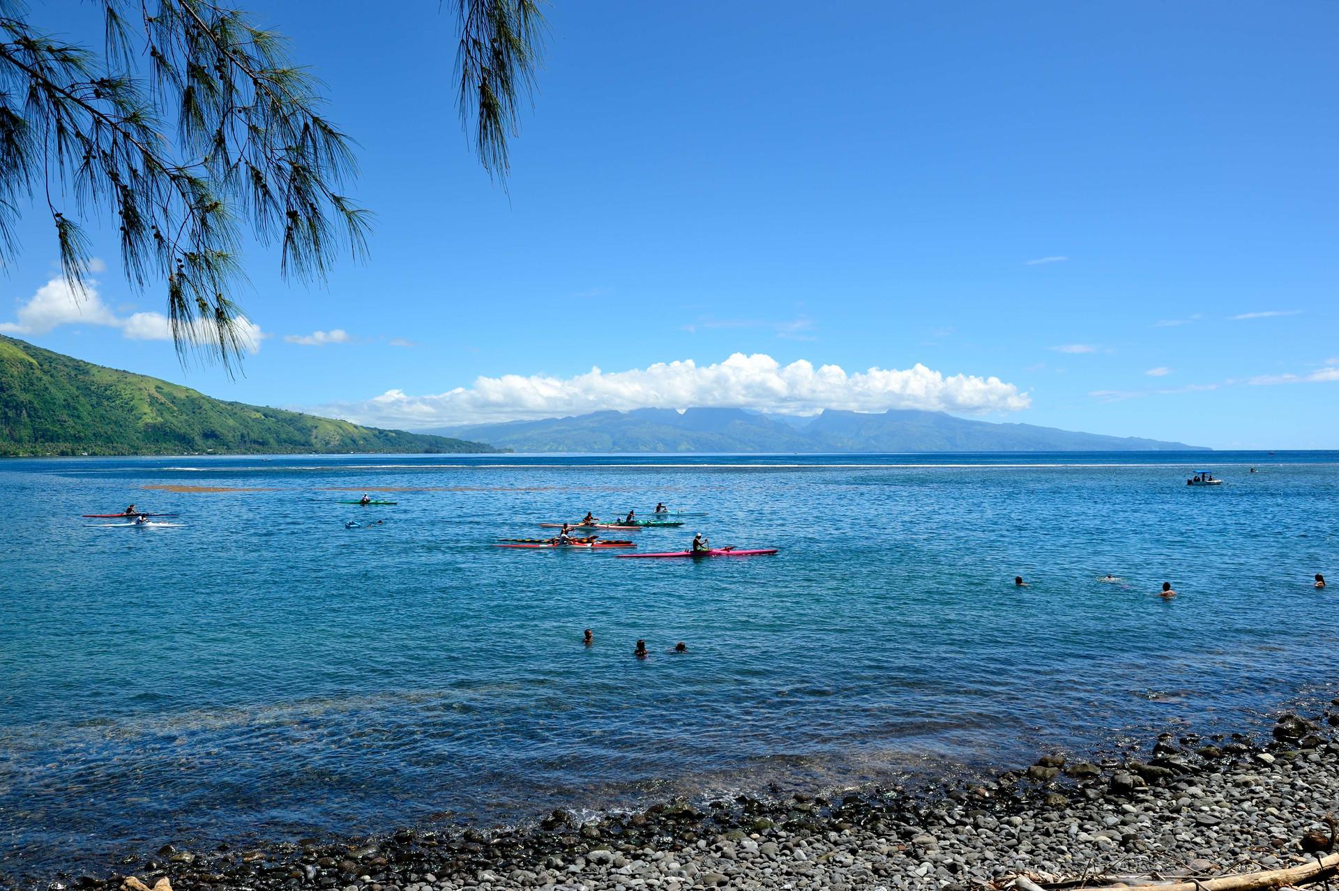 Tautira, Tahiti Iti looking north to Tahiti Nui