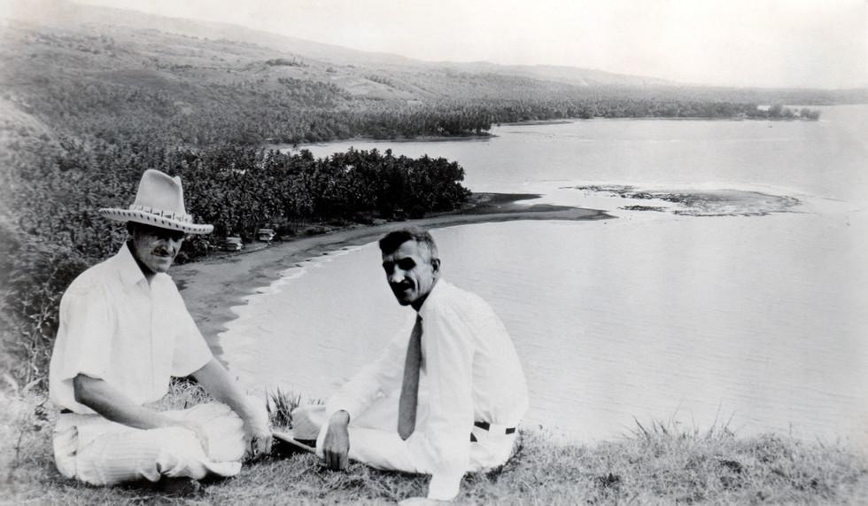 Charles Nordhoff & James Norman Hall c1937 on 'One Tree Hill, Tahiti looking South.jpg