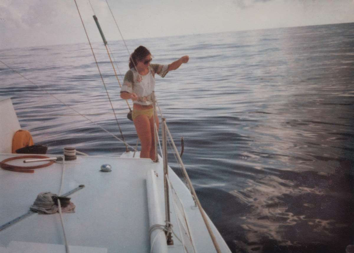 Andrea fishing using a flying fish for bait 1000 miles form Costa Rica Nov 1977