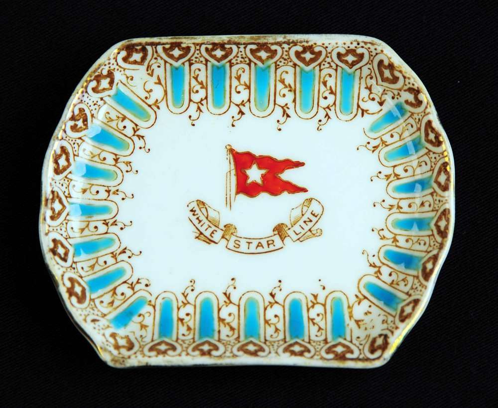 First class butter pat dish from the Titanic dated March 1912