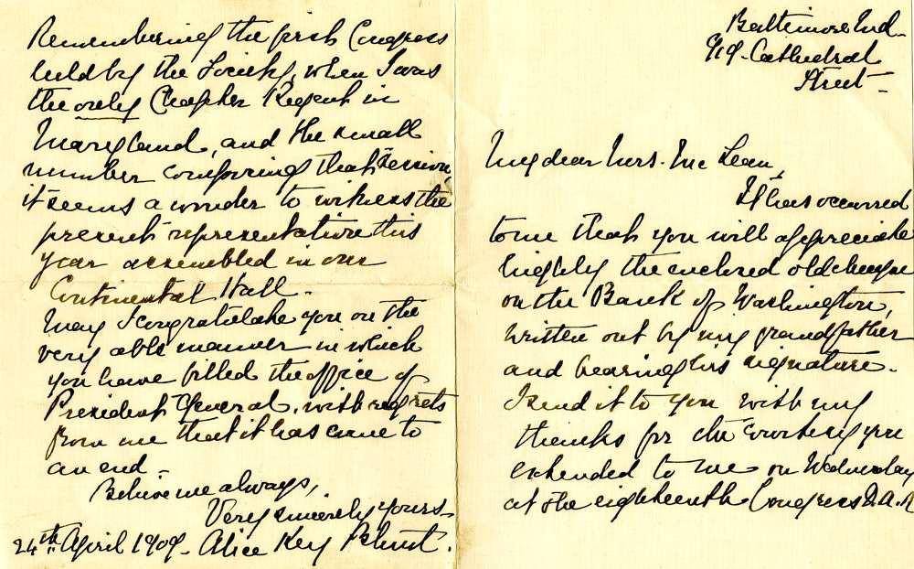 1909 April 24, Alice Key