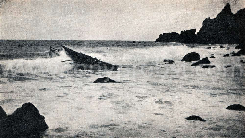 1934 Going out through the surf of Bounty Bay