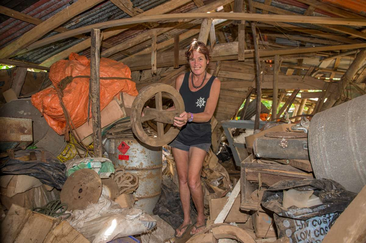 Sue with an old Wheelbarrow wheel