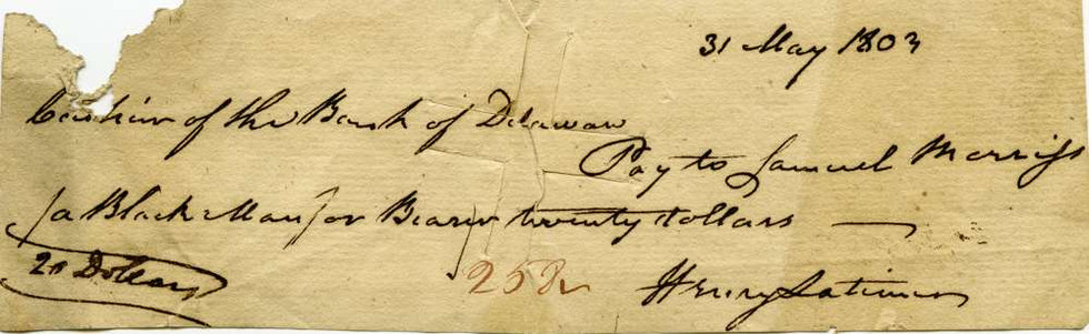 1803 May 31 Senator Henry Latimer to Samuel Morris a black man