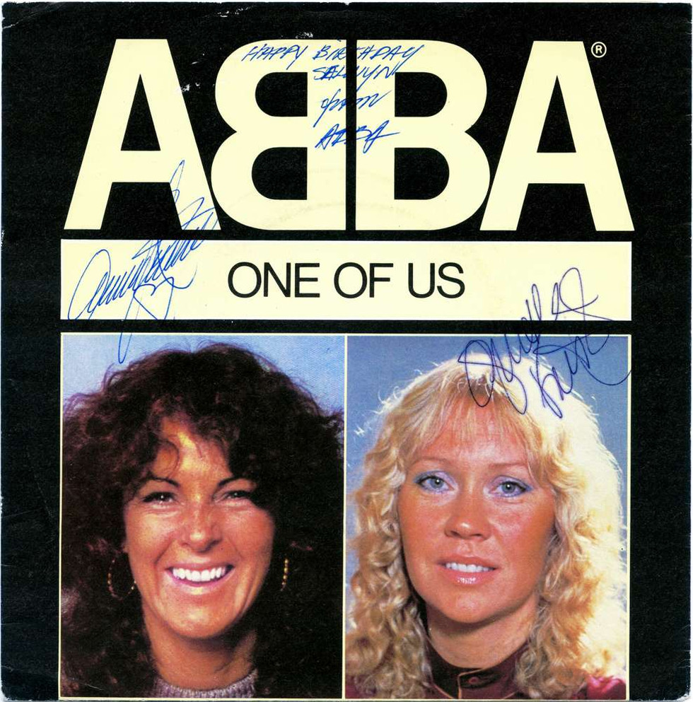 1982 April, ABBA Happy Birthday Written  by Frida. Signed Frida, Agnetha