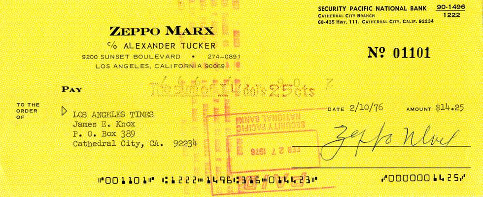 1976 Feb 10, Zeppo Marx