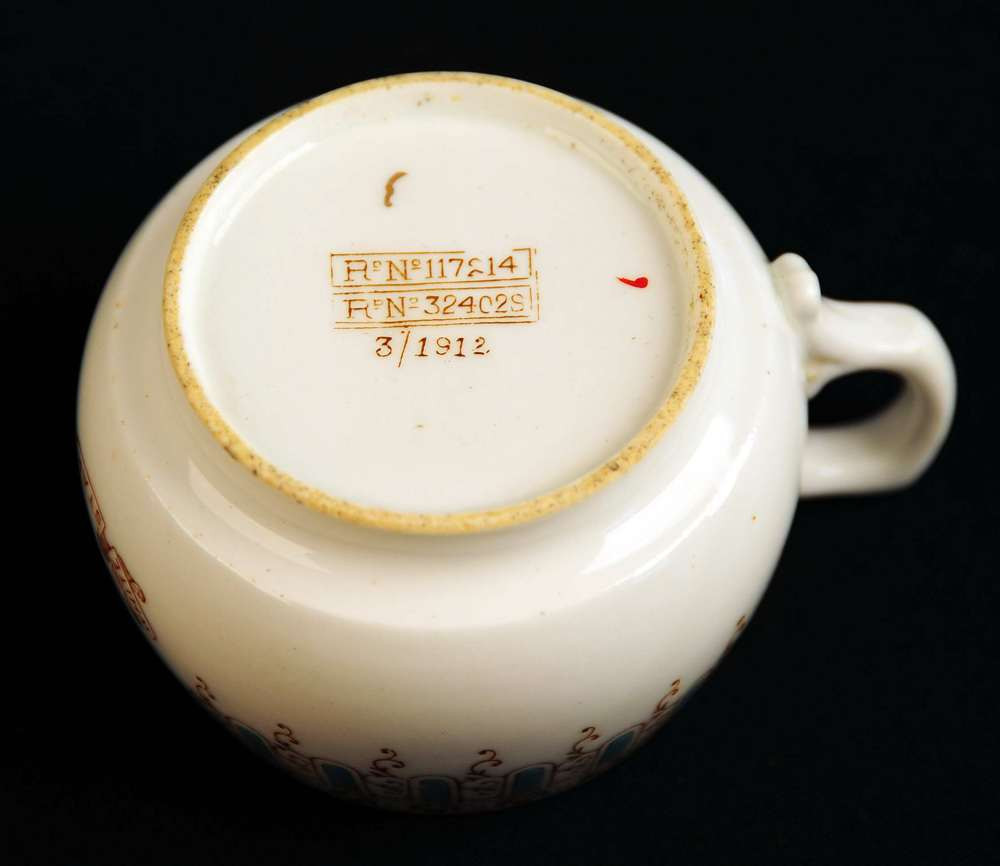 First class coffee cup from the Titanic dated March 1912