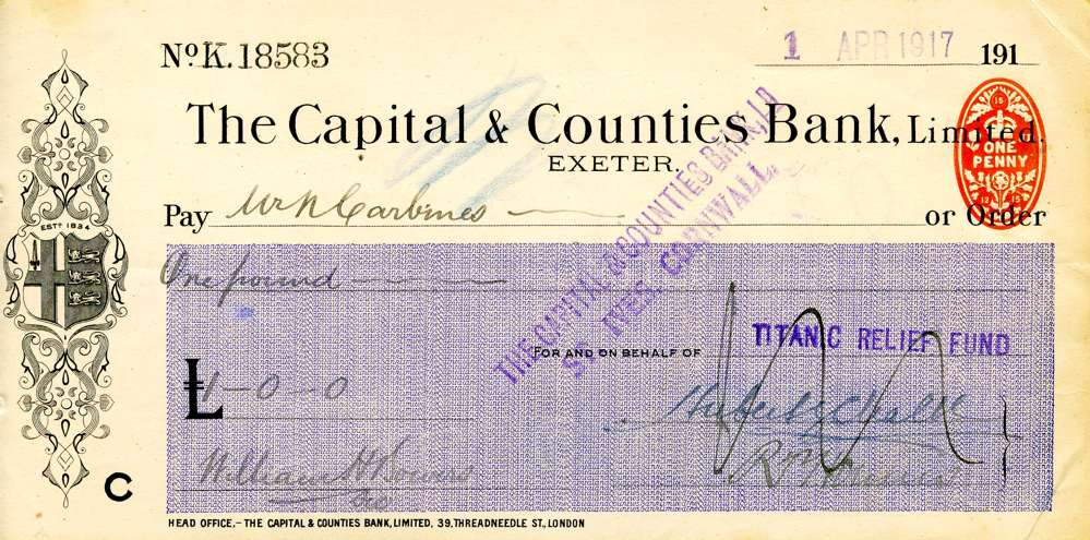 1917 April 1, Titanic Relief Fund