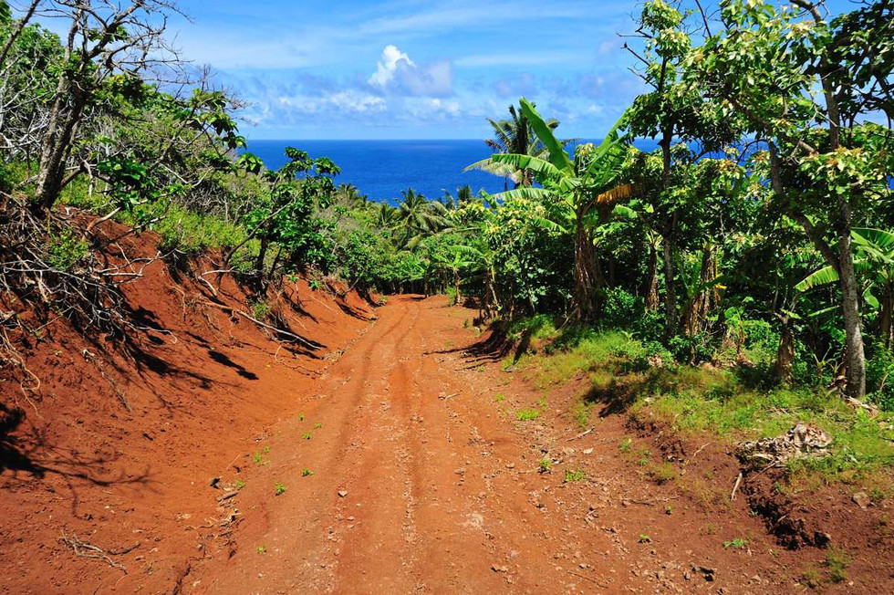 Red roads of Pitcairn Island