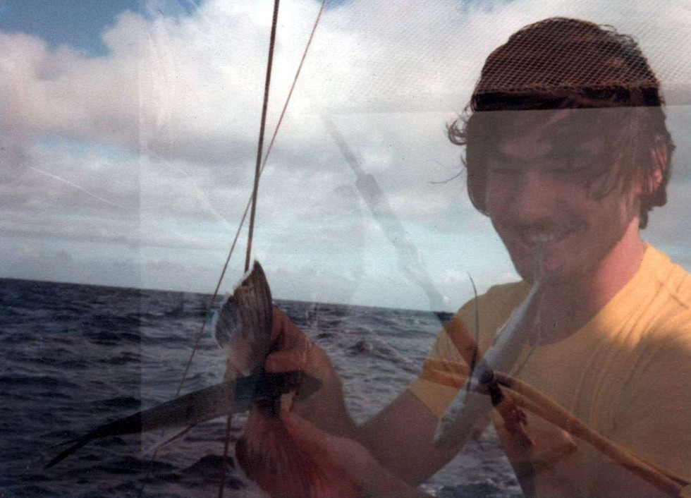 Tony with flying fish of Suvarov Atoll, Cook Islands