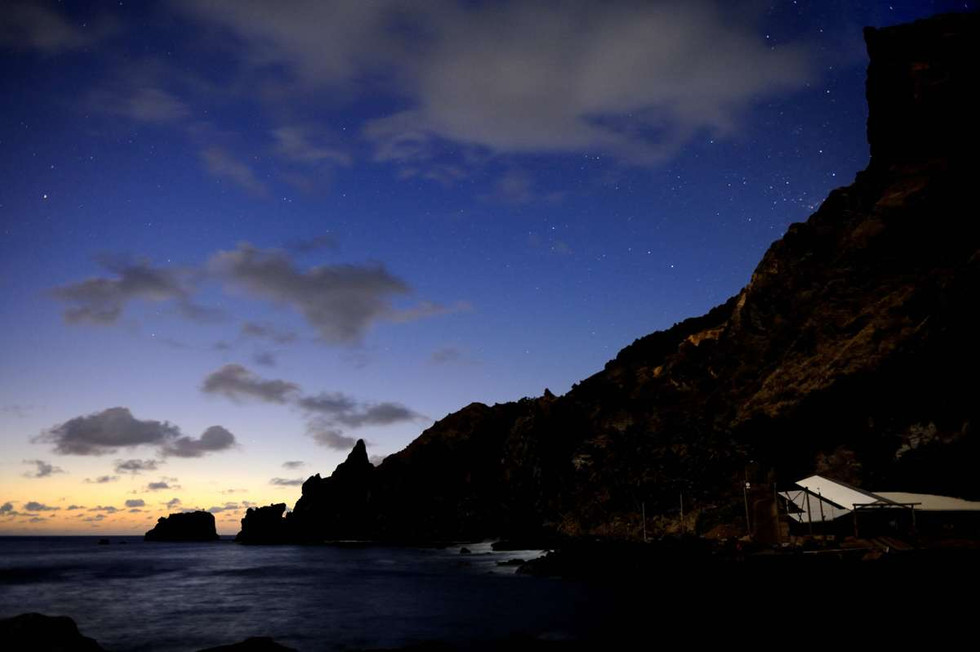 Bounty Bay just before sunrise, lit only by the Moon