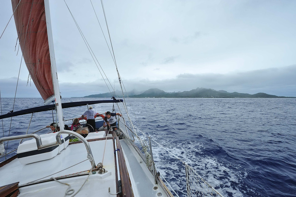 Leaving rarotonga. You can see to needle in the center of the island