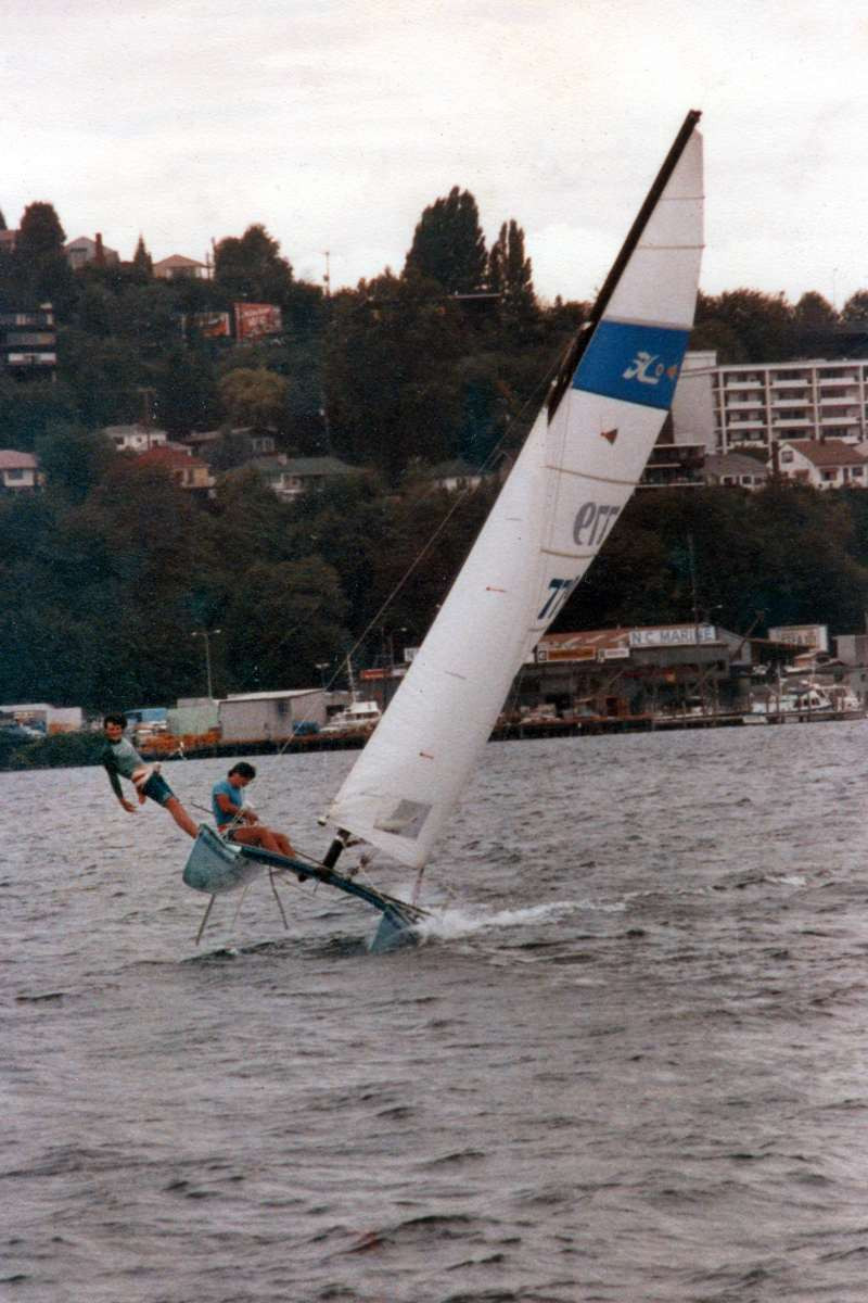 Tony and Andrew having fun on Lake Union Seattle Oct 1977