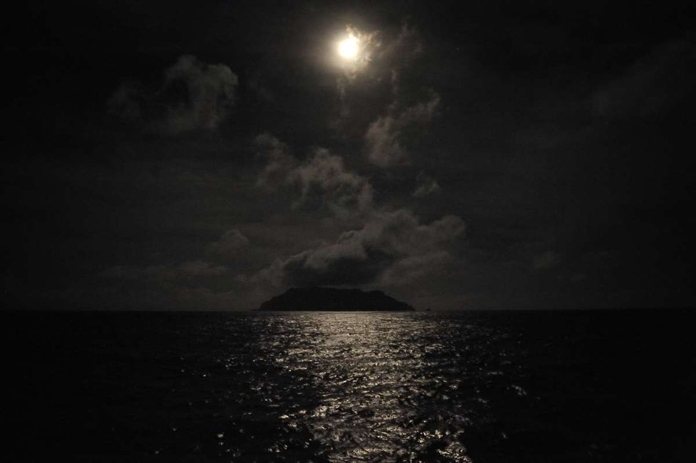 Pitcairn Island lit by the Moon