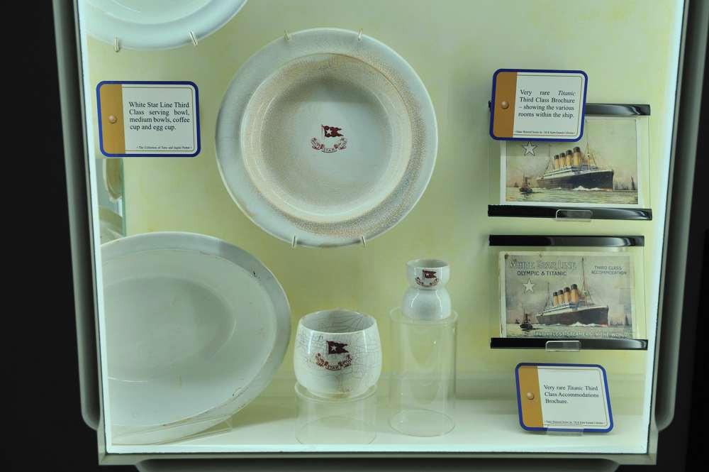 Third clas china on display in the Titanic museum in Branson, Missouri