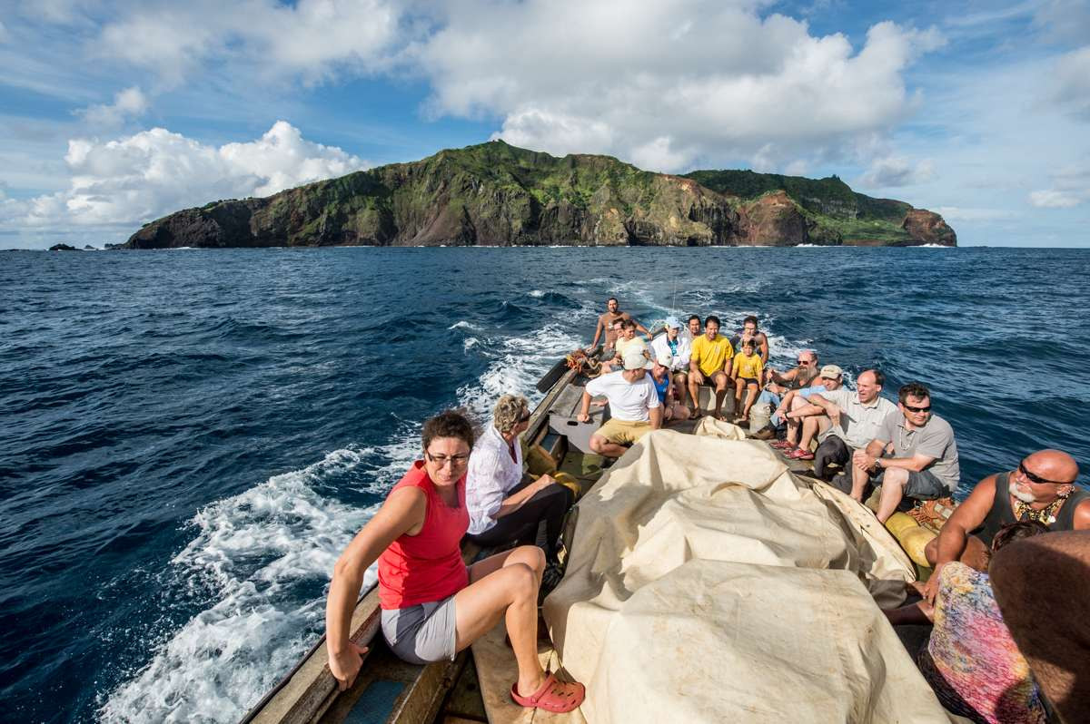 View of Pitcairn island from the Longboat