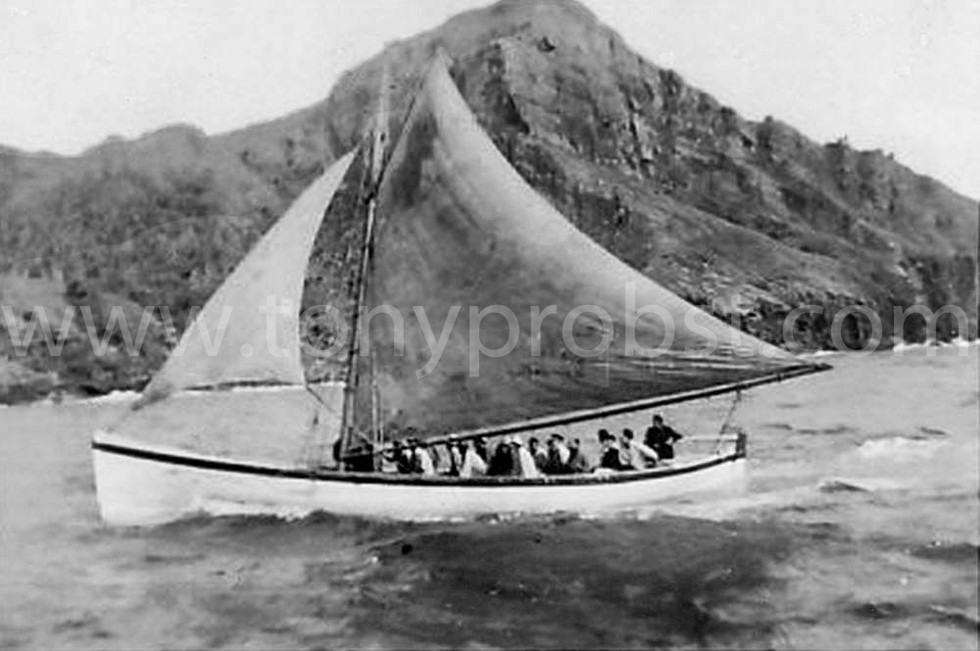 1951 Last Long Boat the Nuni under full sail with Captain Wilks at the helm.