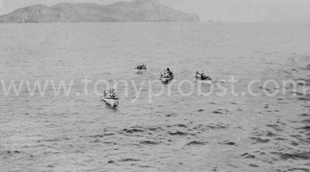 1955 Oct 23 taken from the Rangitako. The Longboat with the motor would tow the others out