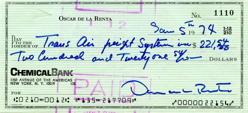 1974 Jan 5, Oscar De La Renta