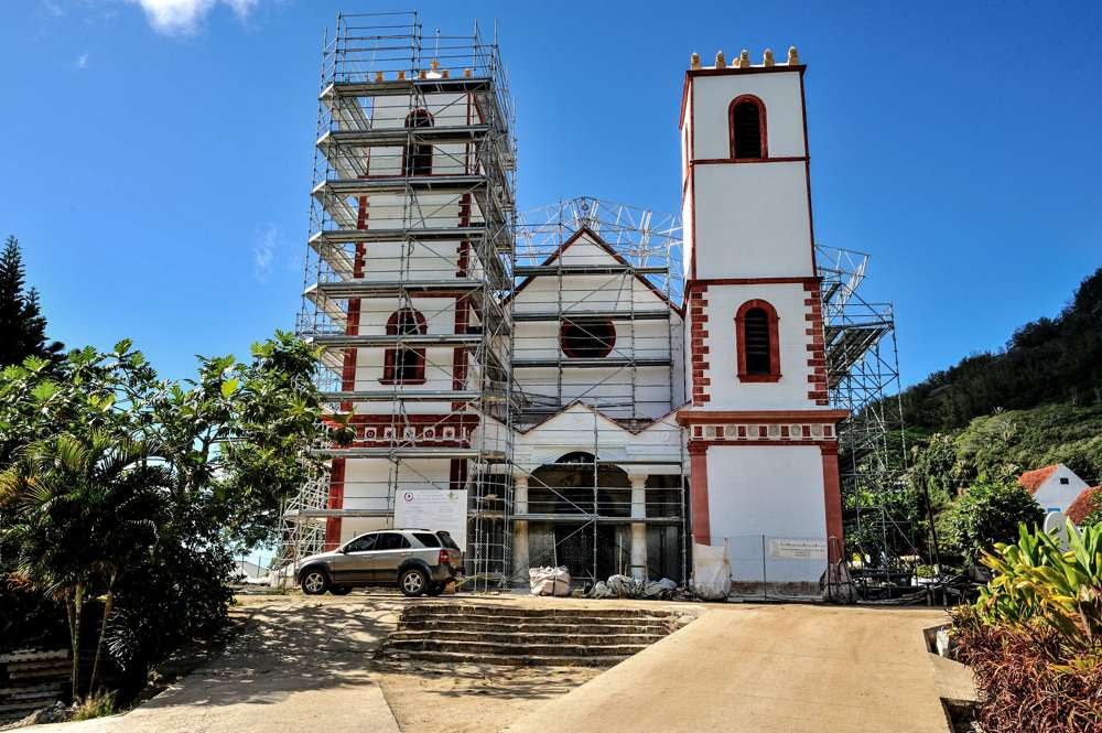 Cathedral of Rikitea during restoration