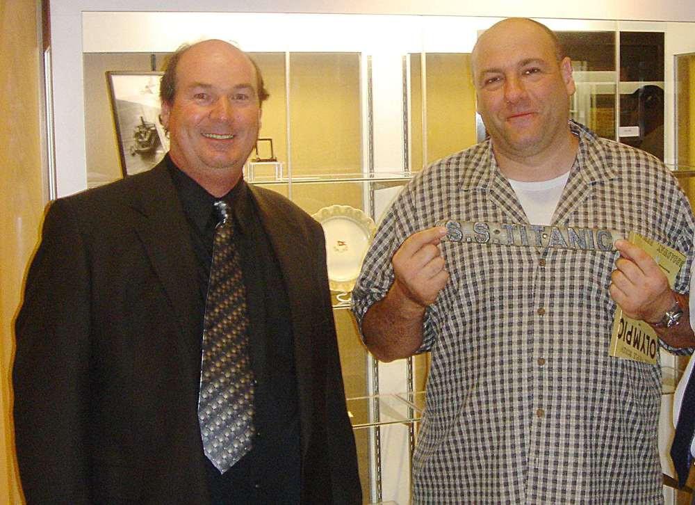 Tony Probst showing his Titanic collection to James Gandolfini