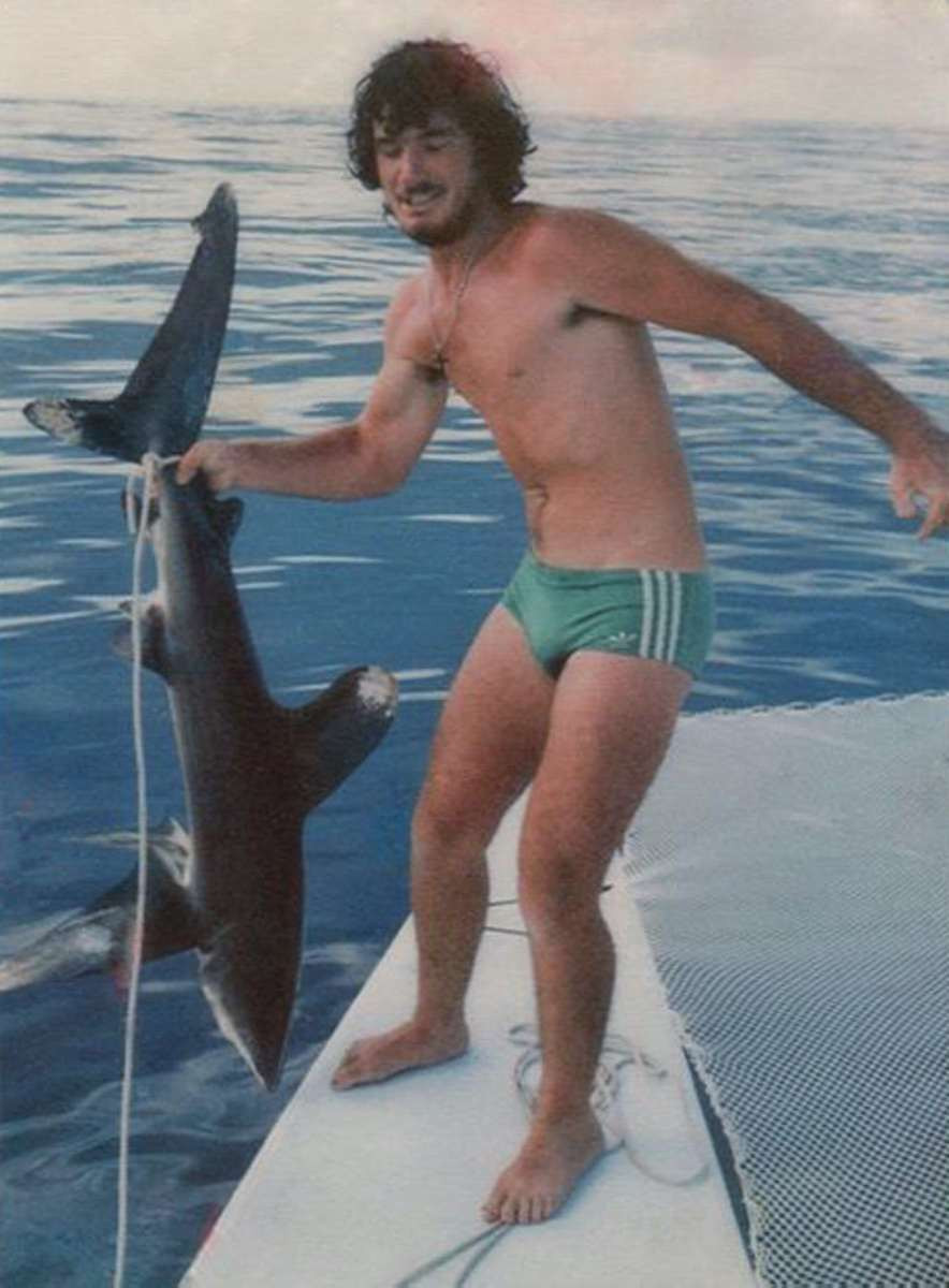 Tony with a shark that took the bait. we let it go