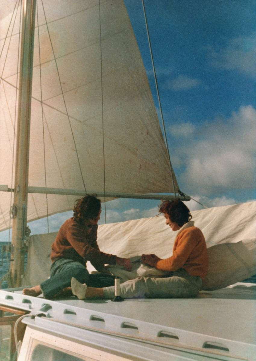 Tony and Jean repairing sails 400 miles from Costa Rica