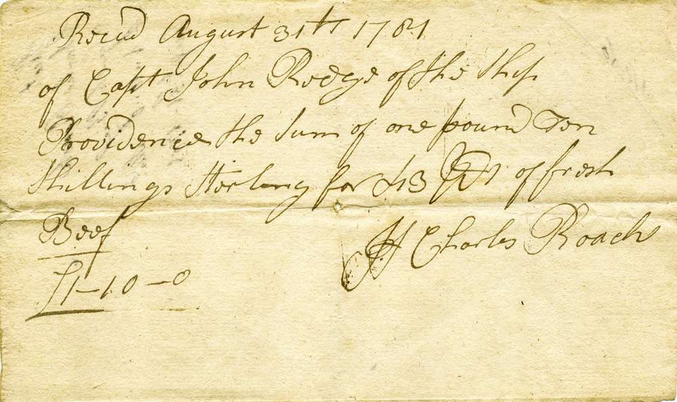 1781 Aug 31 Supplying the HMS Providence with beef