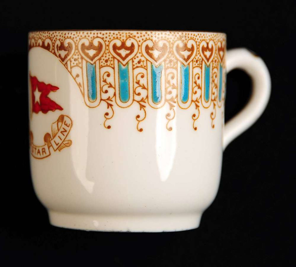 First class turquoise finger pattern demitasse cup