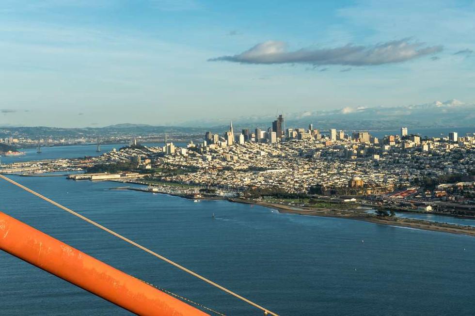Veiw of San Francisco from the top of the Golden Gate Bridge