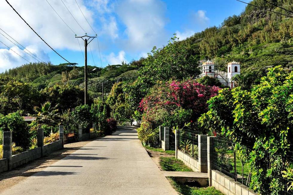 Main street  Rikitea, Gambier islands