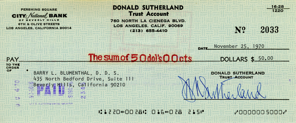 1970 Nov 25 Donald Sutherland