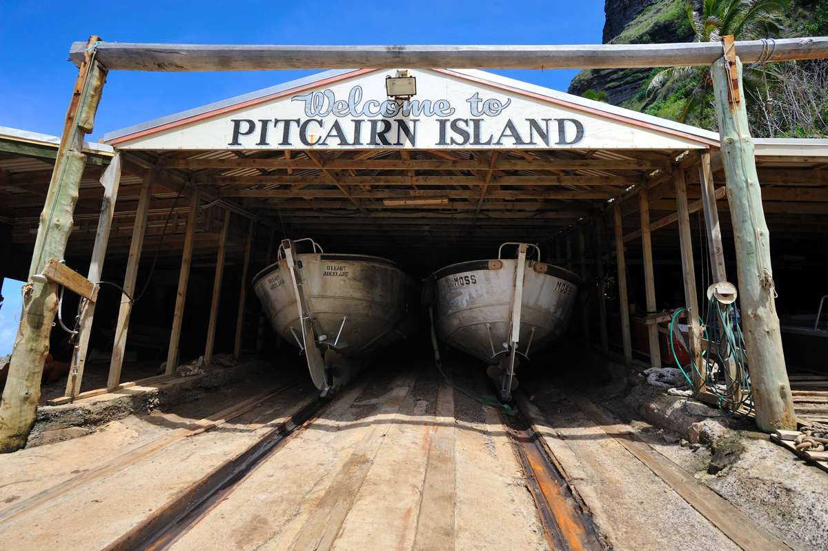 Welcome to Pitcairn Island. The Boat house at the landing