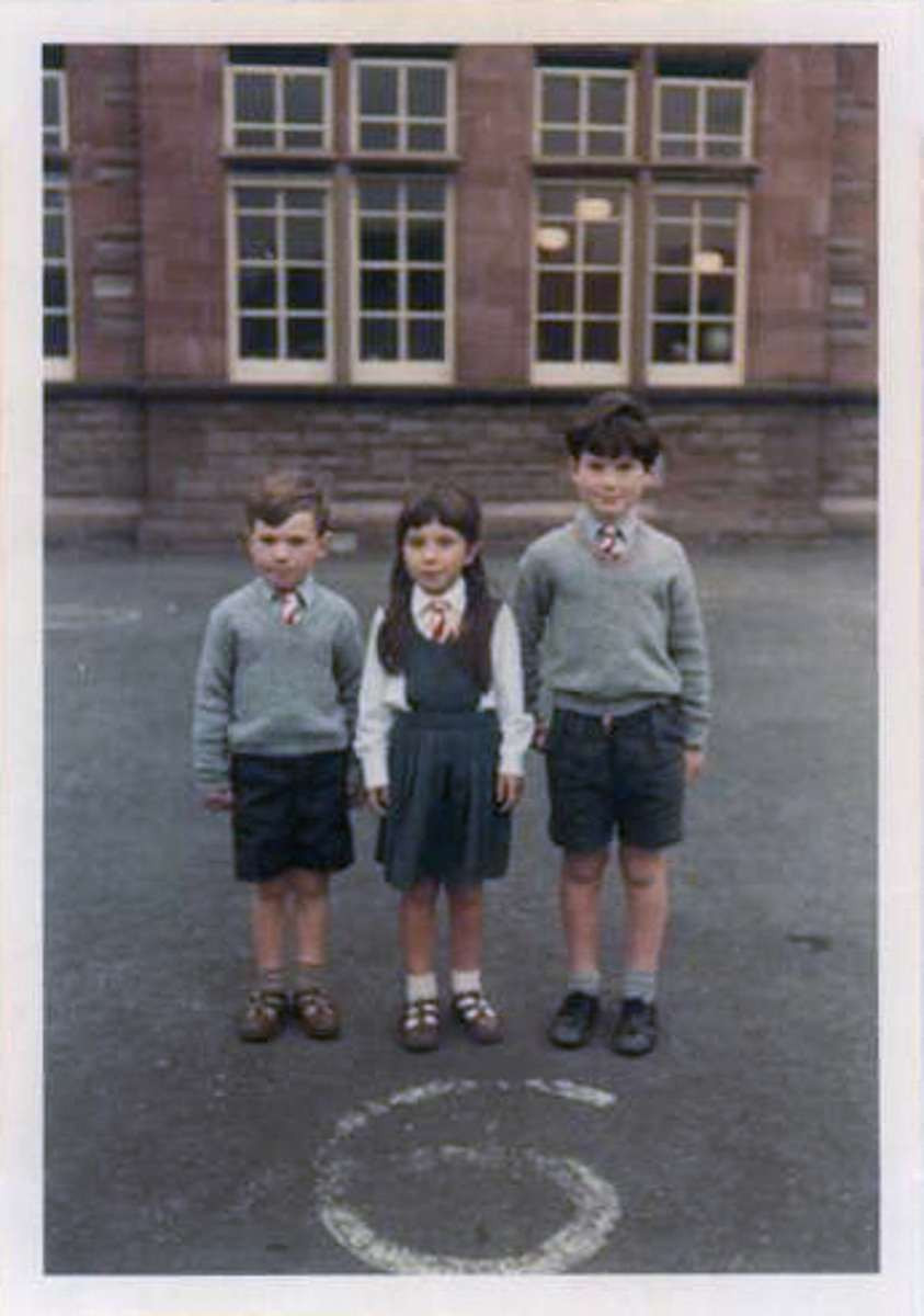 My brother Andrew, sister Andrea and myself on our last day in a real school in Forfar, Angus Scotland