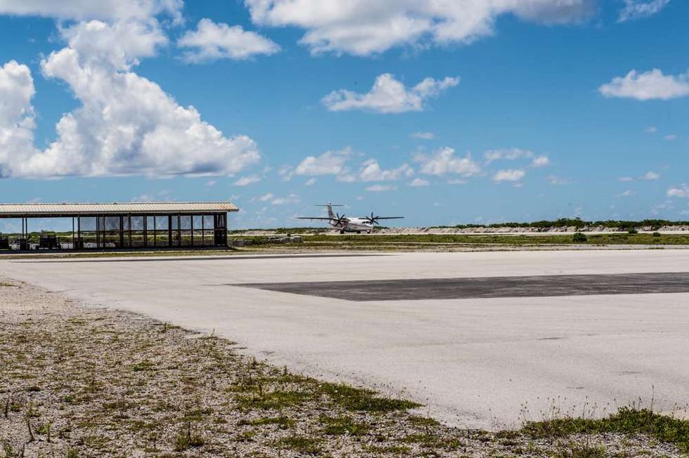 Landing at Totegegie airport, Mangareva, Gambier Islands