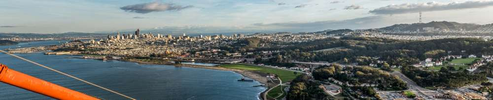 Panoramic veiw of San Francisco from the top of the Golden Gate Bridge