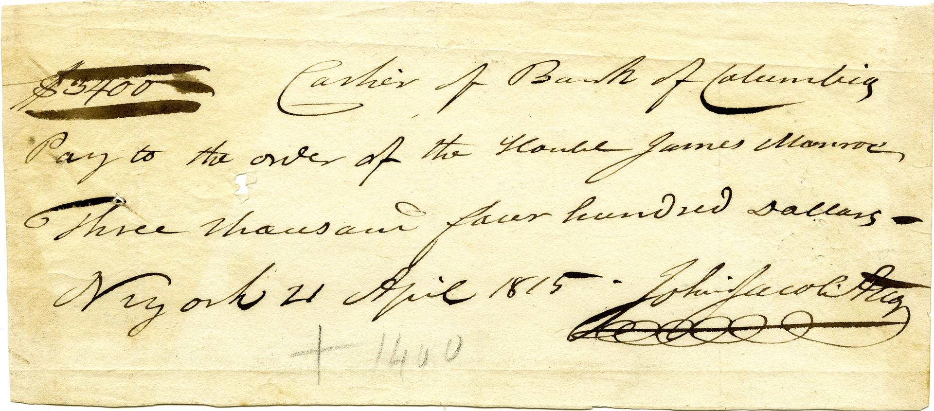 1815 April 21 John Jacob Astor