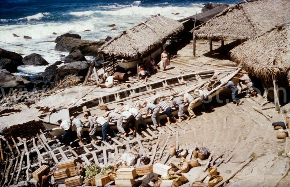 1958 Launching Longboat. Taken from the top of Dan