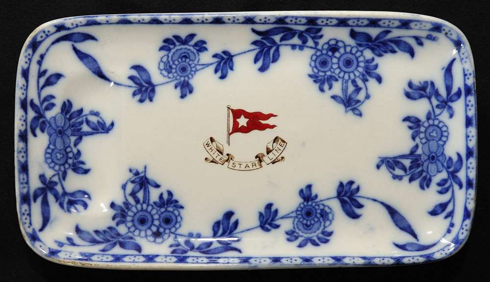 Minton Delft Blue or Flow Blue pattern asparagus plate used in second class table service