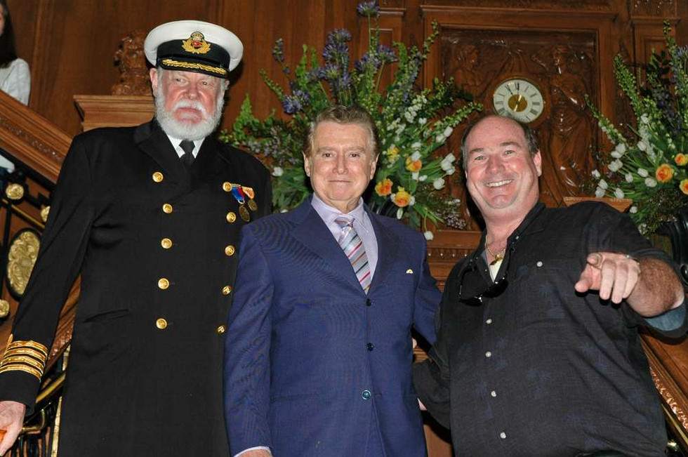 Captain Smith, Regis Philbin and Tony Probst on Titanic's Grand Staircase