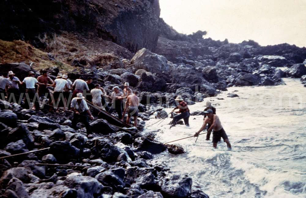 1957  Moving the rocks out of Bounty bay to make it deeper