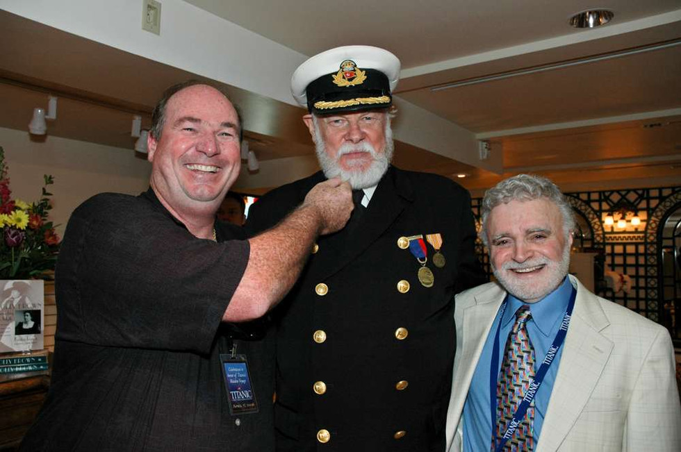 Tony Probst, Captain Smith & Stanley Lehrer opening day at the Titanic Museum in Branson, Missouri