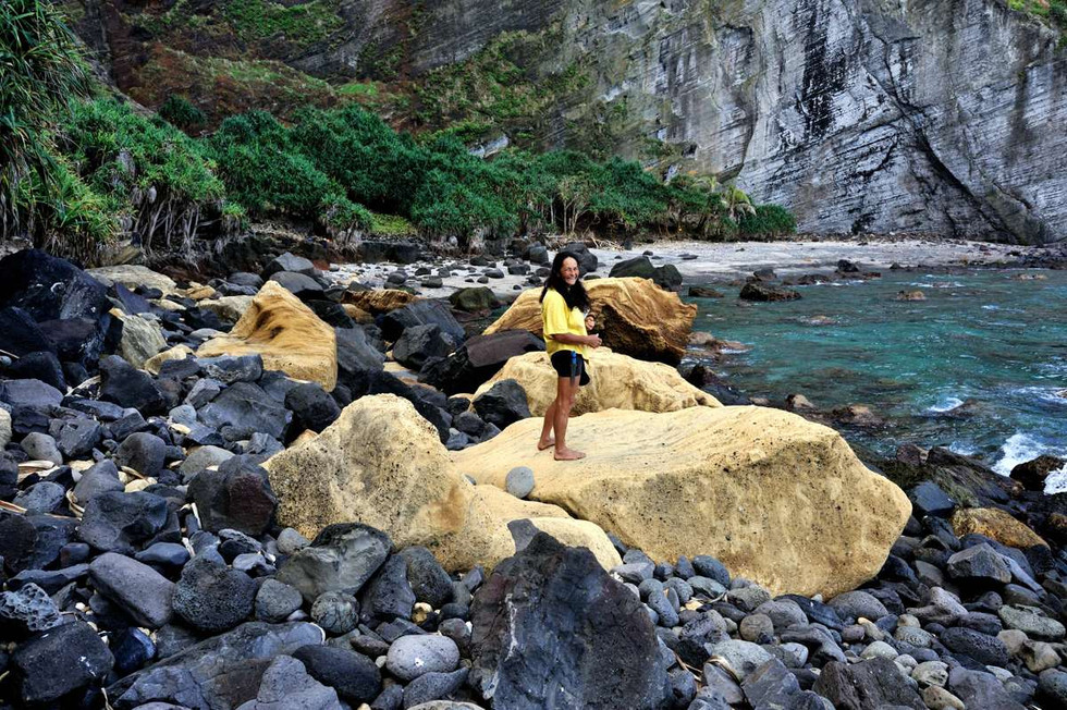 Brenda Christian on the yellow rocks at Down Rope