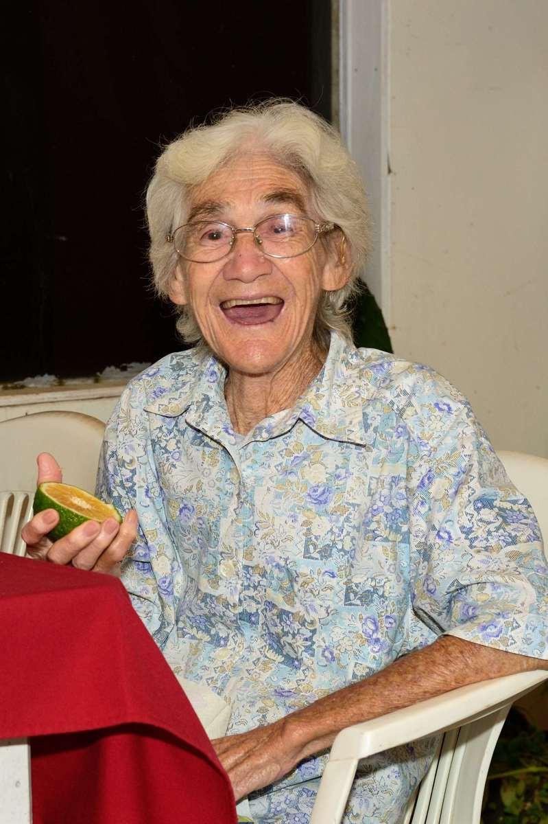Irma Christian with a sweet Pitcairn Orange